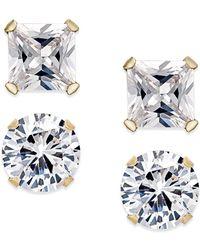 Macy's - Cubic Zirconia 2-pc. Stud Earrings Set In 10k Gold - Lyst