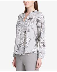 Calvin Klein - Printed Roll-tab-sleeve Top - Lyst