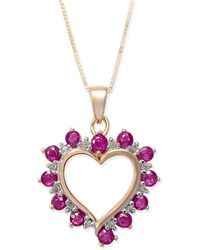 Macy's - Ruby (1 Ct. T.w.) & Diamond Accent Heart Pendant Necklace In 14k Gold - Lyst