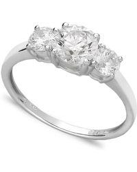 Arabella - 14k White Gold Ring, Swarovski Zirconia Small Three Stone Ring (2-3/8 Ct. T.w.) - Lyst