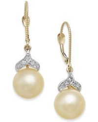 Macy's - Cultured Golden South Sea Pearl (9mm) And Diamond (1/8 Ct. T.w.) Drop Earrings In 14k Gold - Lyst