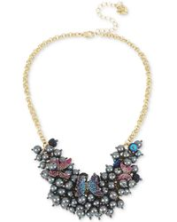 "Betsey Johnson - Gold-tone Imitation Pearl And Pavé Butterfly Statement Necklace, 16"" + 3"" Extender - Lyst"