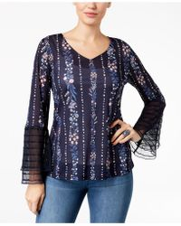 Style & Co. - Petite Tiered Mesh-sleeve Top, Created For Macy's - Lyst
