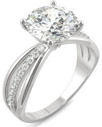 Charles & Colvard - Moissanite Round Solitaire With Sides Ring (2-9/10 Ct. Tw.) In 14k White Gold - Lyst