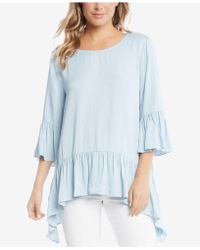 Karen Kane - Ruffled Chambray Top, Created For Macy's - Lyst