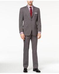 Perry Ellis - Slim-fit Stretch Medium Grey Plaid Suit - Lyst