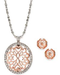 "Charter Club - Two-tone Pavé Filigree Oval Pendant Necklace & Stud Earrings, 17"" + 2"" Extender, Created For Macy's - Lyst"