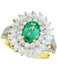 Rare Featuring Gemfields | Certified Emerald (9/10 Ct. T.w.) And Diamond (1-5/8 Ct. T.w.) Ring In 14k Gold | Lyst