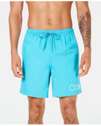"Calvin Klein - Logo 7"" Volley Swim Trunks, Created For Macy's - Lyst"