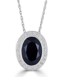 "Macy's - Onyx (18 X 13mm) & Diamond (1/10 Ct. T.w.) 18"" Pendant Necklace In Sterling Silver - Lyst"