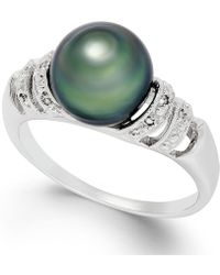 Macy's - Tahitian Pearl And Diamond Accent Ring In Sterling Silver (9mm) - Lyst