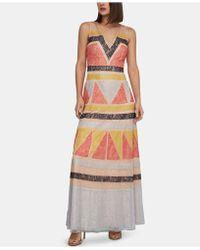 54e45dc576a BCBGMAXAZRIA - Color - Block Lace - Appliqué Maxi Dress - Lyst