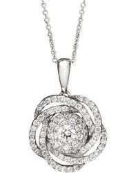 Wrapped in Love - Tm Diamond Knot Pendant Necklace In 14k White Gold (1 Ct. T.w.) - Lyst
