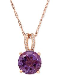 Macy's | Amethyst (2-1/2 Ct. T.w.) And Diamond (1/8 Ct. T.w.) Pendant Necklace In 14k Rose Gold | Lyst
