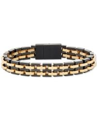 Macy's - Two-tone Interlocking Link Bracelet In Black & Yellow Ion-plated Stainless Steel - Lyst