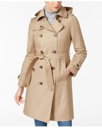 London Fog - Belted Hooded Trench Coat - Lyst