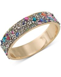 ABS By Allen Schwartz - Gold-tone Stone And Crystal Inlay Bangle Bracelet - Lyst