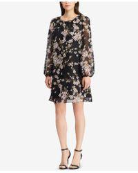 American Living - Floral-print Bishop-sleeve Dress - Lyst