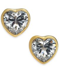 Kate Spade - Gold-tone Crystal Heart Stud Earrings - Lyst