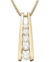 Macy's - Five-stone Diamond Journey Pendant Necklace In 14k Gold (1 Ct. T.w.) - Lyst