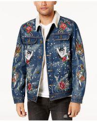 Reason - Men's Embroidered Fleece-lined Denim Jacket - Lyst