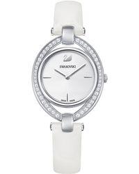Swarovski - Swiss Stella Leather Strap Watch 29x35mm - Lyst