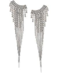 Badgley Mischka - Jewel Silver-tone Crystal & Chain Fringe Chandelier Earrings - Lyst