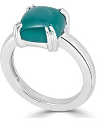 Macy's - Green Agate Curved Claw Ring In Sterling Silver - Lyst