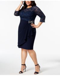 Alex Evenings - Plus-size Embellished Lace-bodice Dress - Lyst
