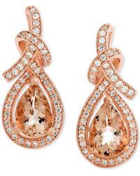 Macy's - Morganite (1-1/8 Ct. T.w.) & Diamond (1/4 Ct. T.w.) Drop Earrings In 14k Rose Gold - Lyst
