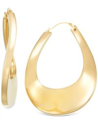 Signature Gold | Bold Twist Hoop Earrings In 14k Gold | Lyst