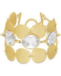 Catherine Malandrino - White Rhinestone Oval Disc Link Yellow Gold-tone Toggle Bracelet - Lyst