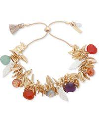 Lonna & Lilly - Gold-tone Leaf & Multicolour Bead Bolo Bracelet - Lyst