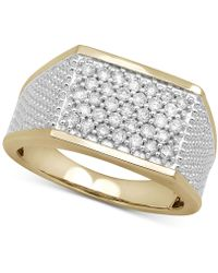 Macy's - Diamond Two-tone Cluster Ring (3/4 Ct. T.w.) In 10k Gold - Lyst