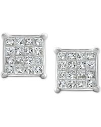 Macy's - Diamond Square Cluster Stud Earrings (1/2 Ct. T.w.) 10k White Gold - Lyst
