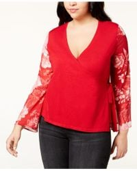ebbe705ad50 INC International Concepts - I.n.c. Plus Size Printed-sleeve Wrap Sweater