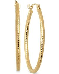 Macy's - Thin Textured Round Hoop Earrings In 10k Gold - Lyst