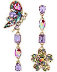 Betsey Johnson - Gold-tone Crystal Butterfly & Flower Mismatch Earrings - Lyst