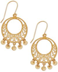 Macy's - Filigree Dangle Gypsy Hoop Earrings In 10k Gold - Lyst