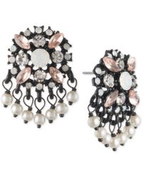 Marchesa | Black-tone Multi-stone & Imitation Pearl Drop Earrings | Lyst