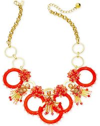 "Kate Spade - Gold-tone Stone, Bead & Wrapped Hoop Statement Necklace, 17"" + 3"" Extender - Lyst"