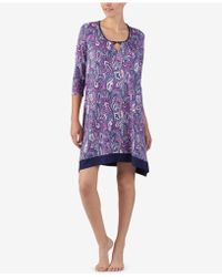 Ellen Tracy - Plus Size Printed Keyhole Nightgown - Lyst