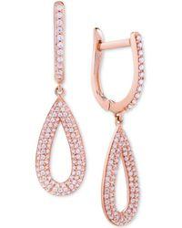 Wrapped in Love - Diamond Pavé Teardrop Drop Earrings (1/2 Ct. T.w.) In 14k Rose Gold - Lyst