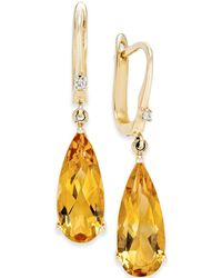 Macy's - Citrine (5 Ct. T.w.) And Diamond Accent Drop Earrings In 14k Gold - Lyst