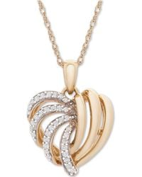 Wrapped in Love - Tm 14k Gold Diamond Heart Pendant Necklace (1/6 Ct. T.w.), Created For Macy's - Lyst