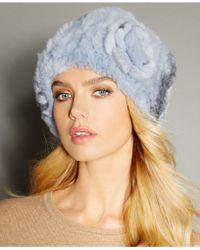 The Fur Vault - Rosette Knitted Rex Rabbit Fur Hat - Lyst