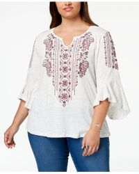 Style & Co. - Plus Size Embroidered Angel-sleeve Top, Created For Macy's - Lyst
