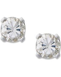 Macy's - Round-cut Diamond Earrings In 10k Gold (1/5 Ct. T.w.) - Lyst
