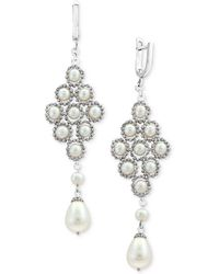 Effy Collection - Cultured Freshwater Pearl (4-1/2mm, 8-1/2mm) Lace Drop Earrings In Sterling Silver - Lyst