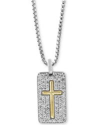 "Effy Collection - White Sapphire Cross Dog Tag 22"" Pendant Necklace (1-3/8 Ct. T.w.) In Sterling Silver & 18k Gold - Lyst"